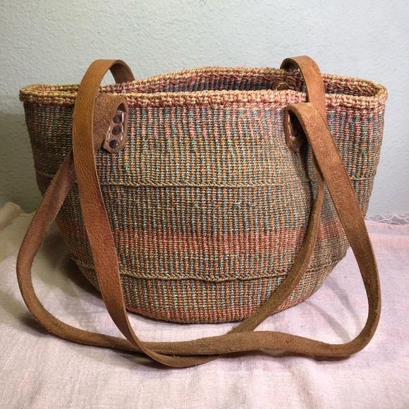 Unique Vintage Bags Vintage Woven Sisal Jute Leather